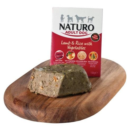 Naturo cordeiro com arroz para cães