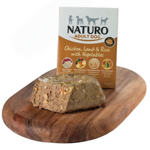 Naturo frango com cordeiro e arroz para cães