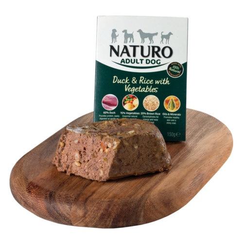 Naturo pato com arroz para cães