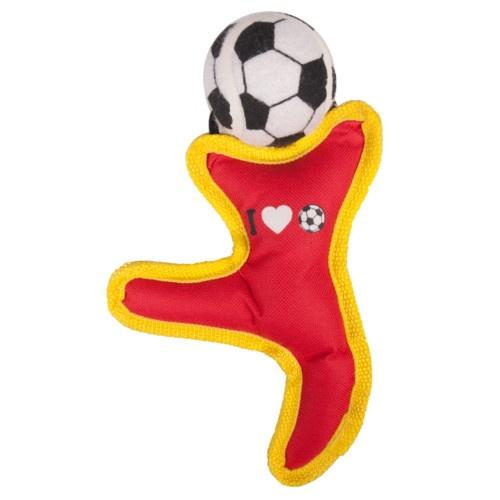 Figura com bola de futebol para cães
