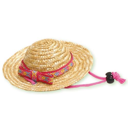 Chapéu de palha rosa para cães