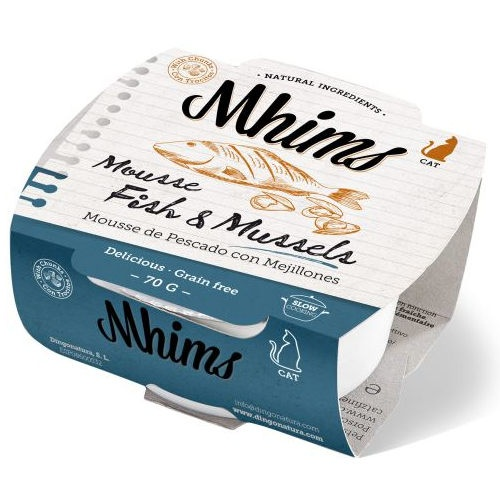 Mhims Mousse peixe branco com mexilhões para gatos
