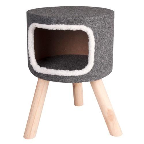 Casa alta para gatos com pernas de madeira