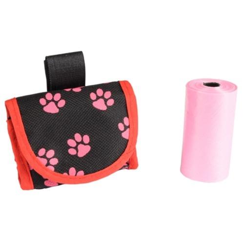 Porta-sacos para cinto ou trela cor-de-rosa