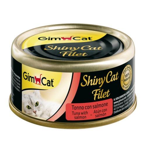 Comida húmida Shiny Cat Filet atum com salmão
