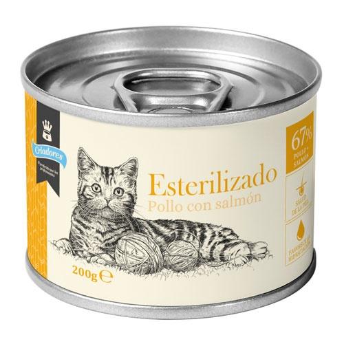 Criadores húmido gatos esterilizados Frango e Salmão