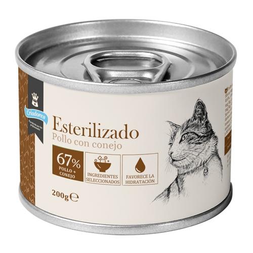 Criadores húmido gatos esterilizados Frango e Coelho