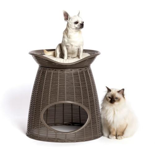 Cama caverna de vime para gatos castanha