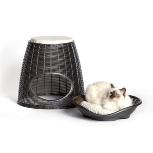 Cama caverna de vime para gatos cinzenta