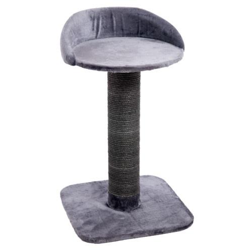 Poste arranhador com cama para gatos cinzento
