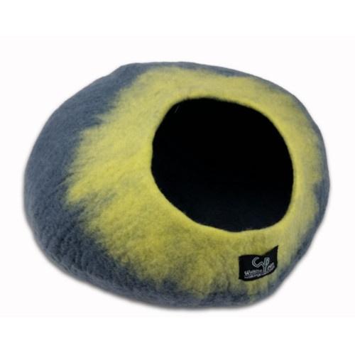 Caverna de lã para gatos cinzenta e amarela