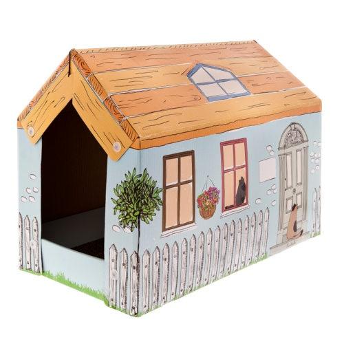 Casota de cartão Cottage com arranhador e catnip