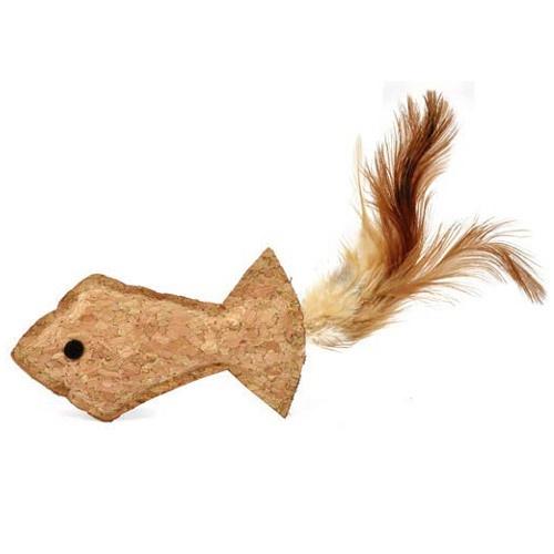 Peixe de cortiça com penas para gatos
