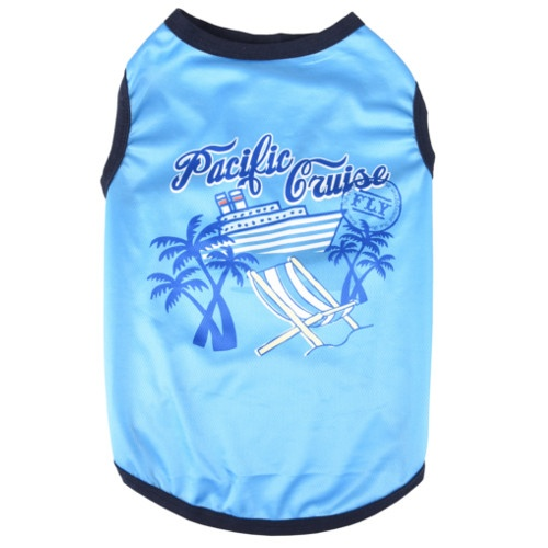T-shirt Pacific Cruise azul para cães