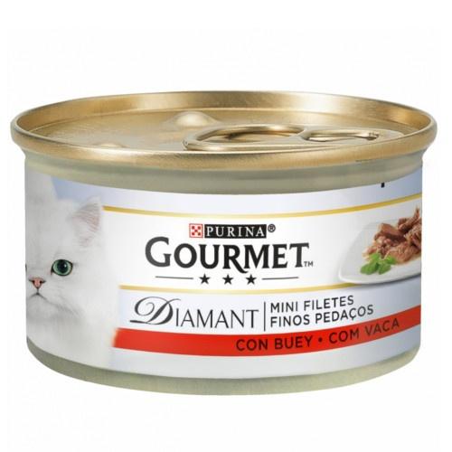 Gourmet Diamant finas lonchas com boi para gatos