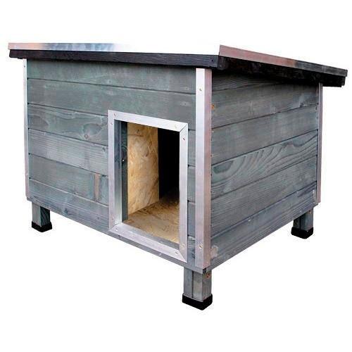 Casota robusta de madeira para cães Nevada Cinzento