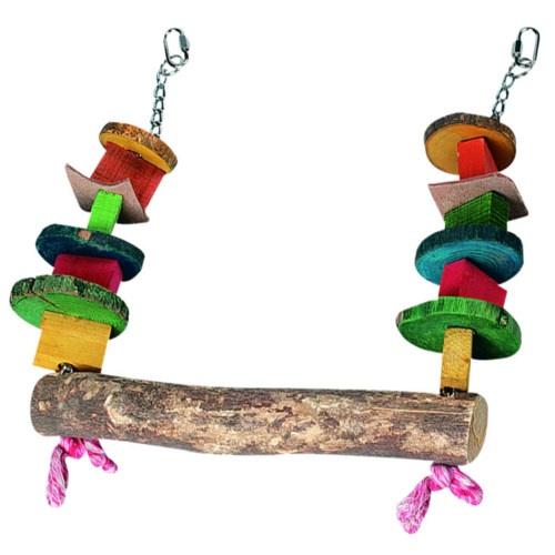 Balançar de madeira com miçangas para Papagaios
