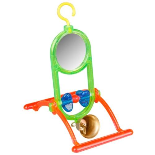 Brinquedo espelho com Poleiros e campainha para periquitos