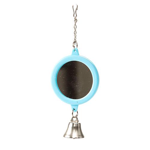 Espelho redondo com campainha para periquitos