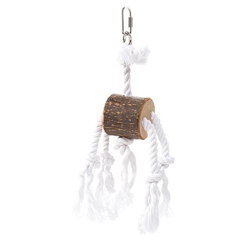Brinquedo de madeira e corda com tronco para Papagaios