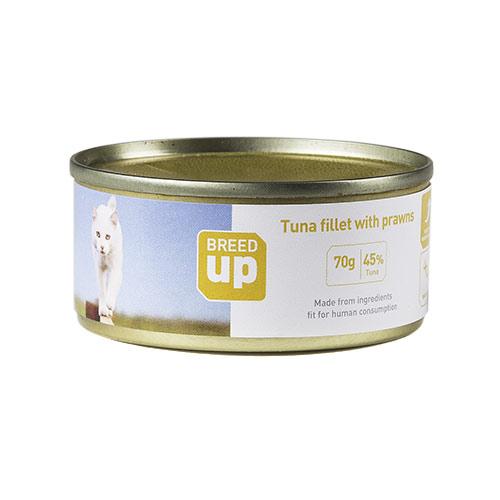 Alimento húmido para gatos Breed Up Adult atum e camarão 70 gr