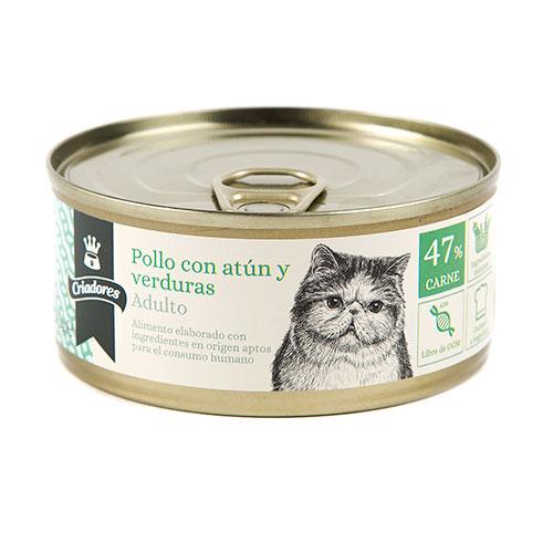 Alimento húmido para gatos Criadores Adulto de frango com atum e verduras