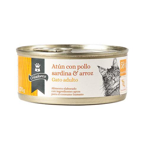 Alimento húmido para gatos Criadores atum com frango, sardinha e arroz 170 gr
