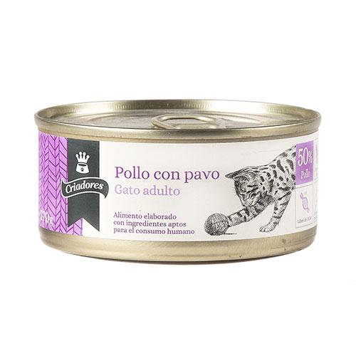 Alimento húmido para gatos Criadores frango e peru 170 gr