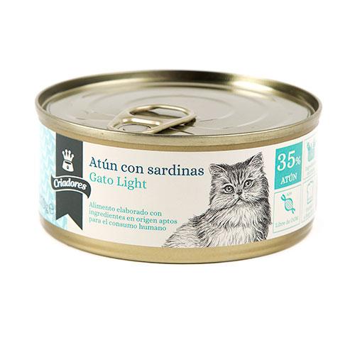 Alimento húmido para gatos Criadores Light de atum com sardinhas