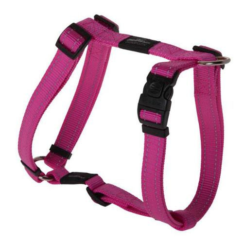 Peitoral para cães Rogz Utility rosa com costura refletora