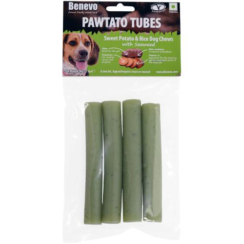 Benevo Pawtato Tubes snacks veganos para cães de algas