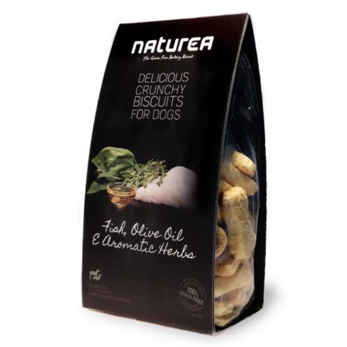 Biscoitos sem cereais para cães Naturea com peixe e ervas
