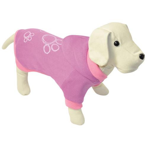 Camisola com capuz para cães rosa com pegadas