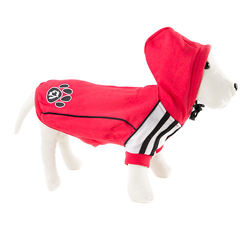 Camisola com capuz para cães sport vermelha com pegadas