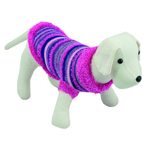 Camisola de malha para cão listas rosa