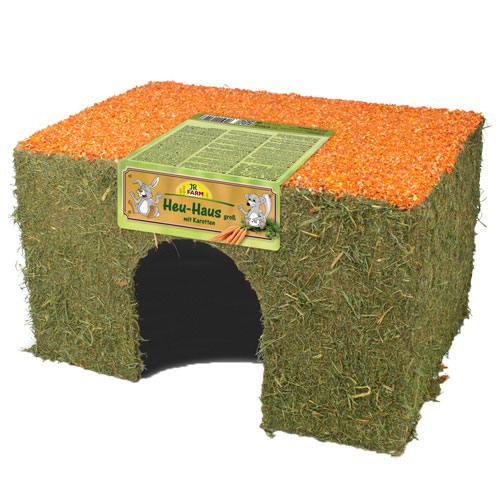 Casa de feno com cenoura JR Farm para roedores e coelhos