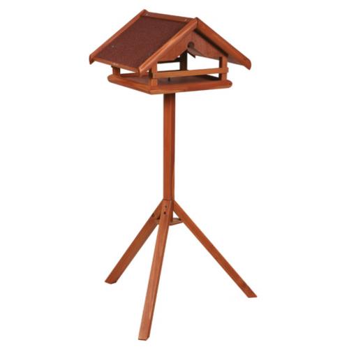 Casa de madeira para aves com suporte