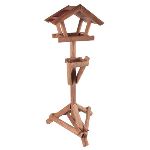 Casa rústica de madeira para aves com suporte