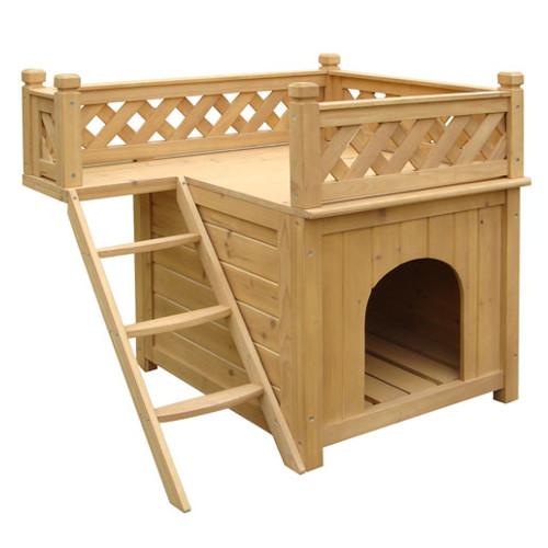 Casota de madeira para cães TK-Pet Maison de dois andares