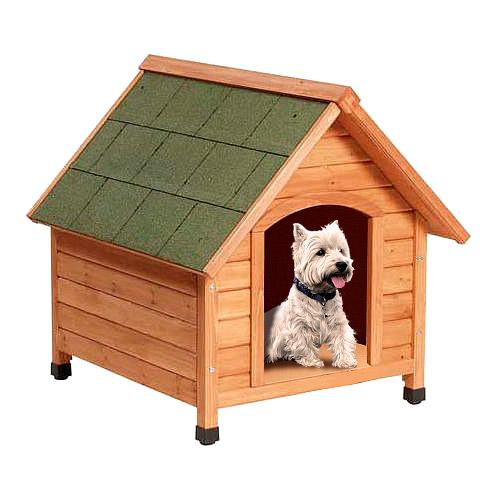 Caseta para cães TK-Pet Woof com telhado a duas aguas e porta