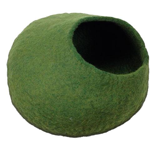 Caverna de lã para gatos feita a mão verde