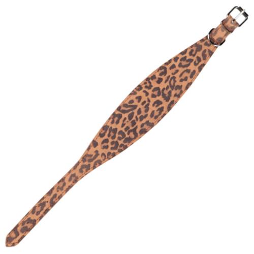 Coleira de couro estampado leopardo para galgos