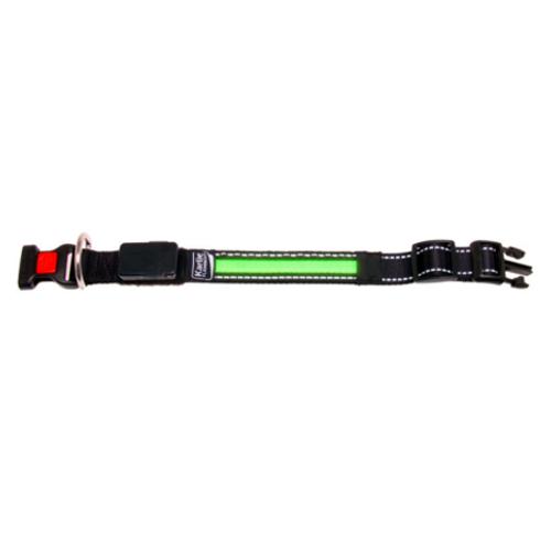 Coleira com faixa LED verde com carregador USB