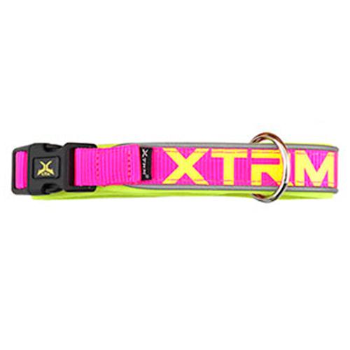 Coleira de nylon com refletor X-TRM Neon Flash fúcsia