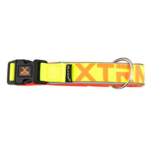 Coleira de nylon com refletor X-TRM Neon Flash limão