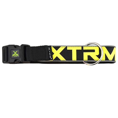 Coleira de nylon com refletor X-TRM Neon Flash preta