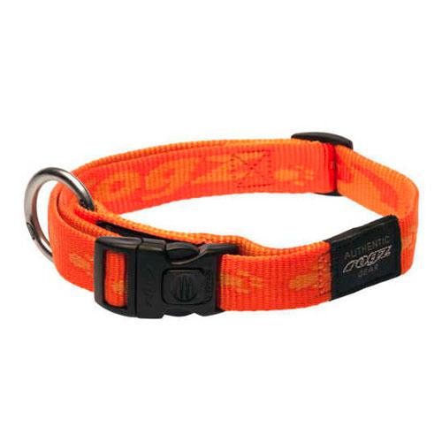 Coleira para cães Rogz Alpinist cor-de-laranja com letras estampadas