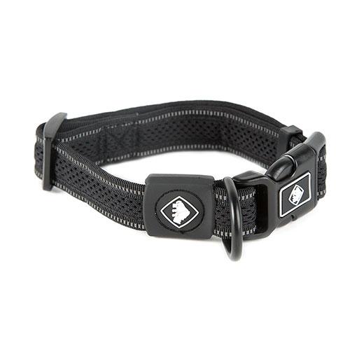 Coleira para cães TK-Pet Reflective Comfort preta com costura refletora