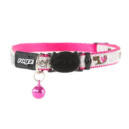 Coleira para gatos cor-de-rosa Rogz Fancycat com guizo
