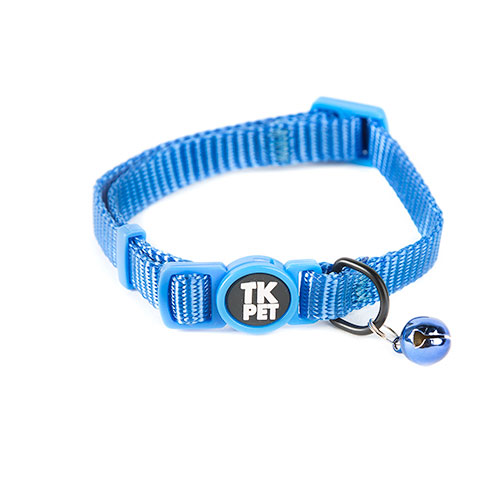 Coleira para gatos TK-Pet Classic Nylon azul com guizo